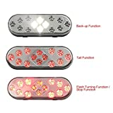 CZC AUTO 6'' LED Waterproof Oval Red Trailer Lights Rear Stop Turn Signal Parking Tail Brake Lights for Boat Trailer Truck RV