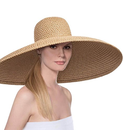 Eric Javits Luxury Fashion Designer Women's Headwear Hat - Giant Floppy - Peanut by Eric Javits