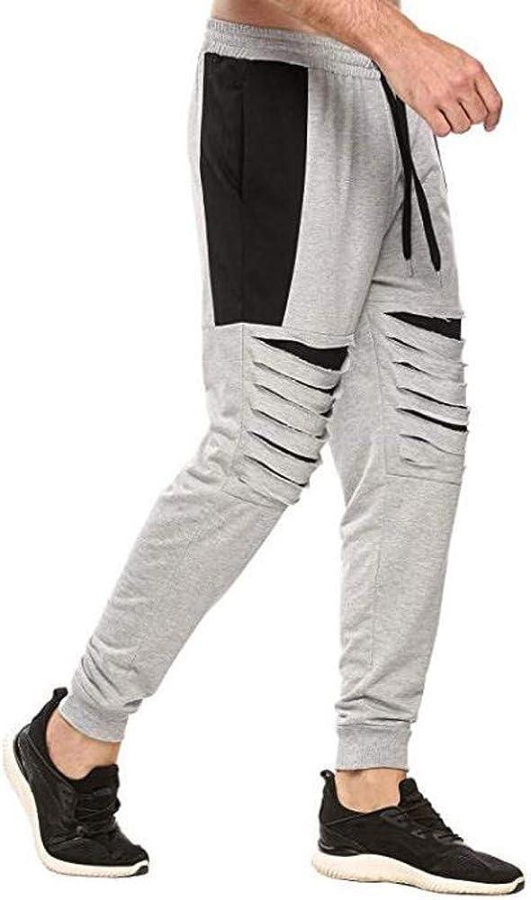 Mens Closed Bottom Casual Regular Fit Sweatpants Elastic Waist Running Hiking Outdoor Multi Sports