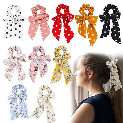 GROBRO7 10Pcs Hair Scrunchies Chiffon Elastic Hair Ties Bow Scrunchies Bobble Hair Bands Scarf Scrunchies Ponytail Holder Vintage Hair Accessories for Women]()