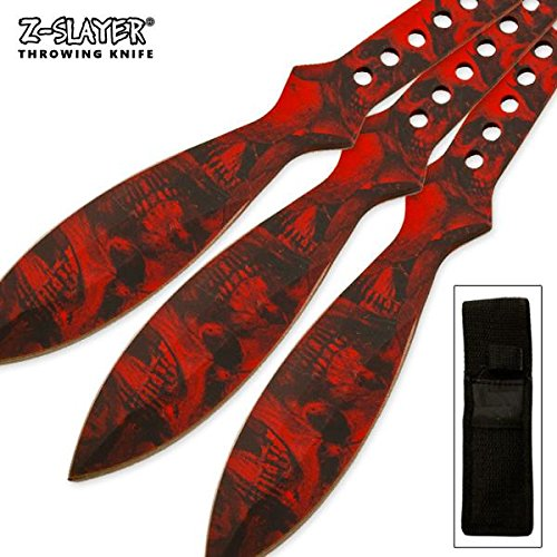 Tiger USA Large Steel 3 piece Red 9 Inch Skull Z-slayer Throwing - Throwing Skull Knife