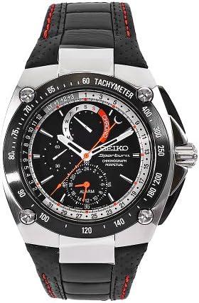 Seiko Men s SPC047P2 Sportura Black Leather Strap Black Chronograph Dial Watch