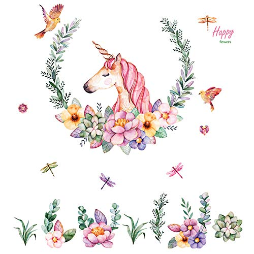 Unicorn Wall Decals, Unicorn Angel Flower Wall Stickers, Nursery Room Fairytale Adorable Wall Decal Bedroom Home, Wall Decor for Girls and Babys