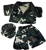 Army Green w/Cap Teddy Bear Clothes Fits Most