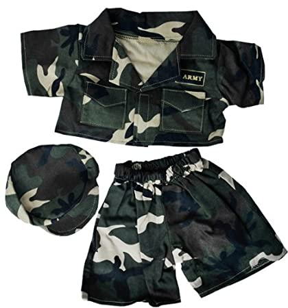 9668abd2c26 Image Unavailable. Image not available for. Color  Army Green w Cap Teddy  Bear Clothes Fits ...