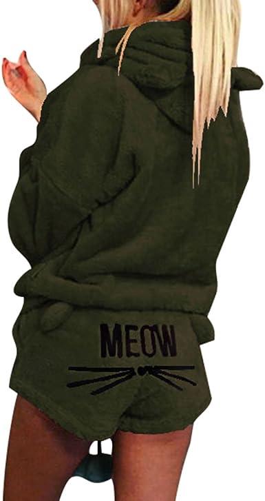 Yying Cute Cat Meow Pattern con Cappuccio Shorts Set Donna Coral Velluto Suit Due Pezzi Autunno Inverno Pigiama Caldo Sleepwear
