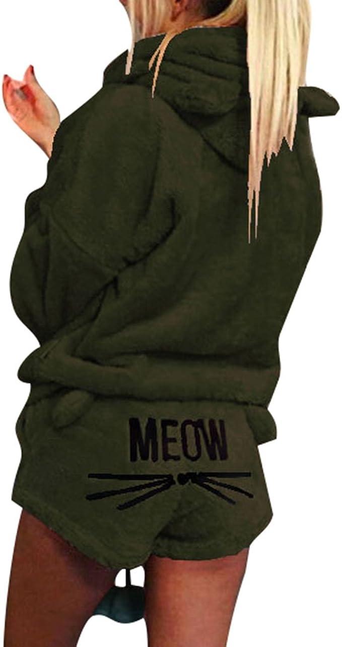 Damen Mädchen Pyjama Schlafanzug Set Katze Nachtwäsche Geschenk
