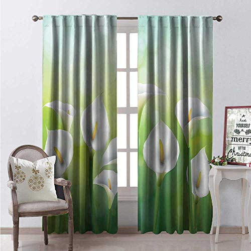 Hengshu Calla Lily Window Curtain Fabric Illustration of Spring Seasonal Design Flowers on Green Background Drapes for Living Room W96 x L84 Green White Yellow - Nouveau Lily Window Windows