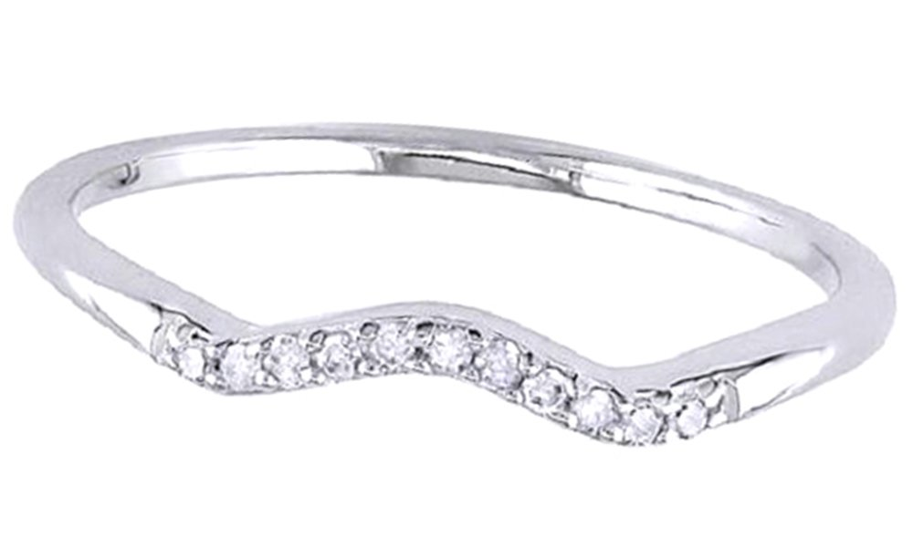 Jewel Zone US White Natural Diamond Accent Curved Wedding Band Ring in 14k White Gold Over Sterling Silver (0.06 Ct) by Jewel Zone US (Image #2)