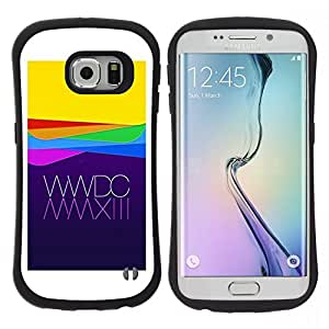 "Hypernova Slim Fit Dual Barniz Protector Caso Case Funda Para Samsung Galaxy S6 EDGE [Manzana amarillo púrpura Waves Tecnología""]"