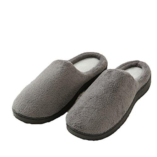 HONGANG Men's House Soft Winter Slippers Warm Non-Slip Memory Foam Indoor Mules Coral Fleece House slippers Gray oTgtQ