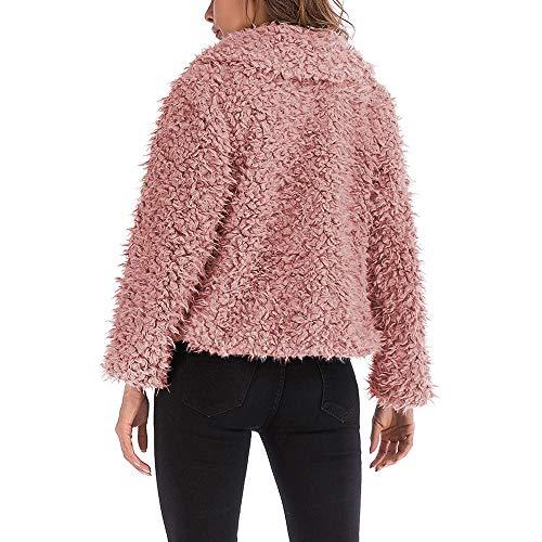 Rifinitura Morwind Solido Corta Pelle Lunga In Giacca Collare Tasca Donna Pellicce Manica Rossa Artificiale Pink Di Sintetiche Pelliccia rzxtr7