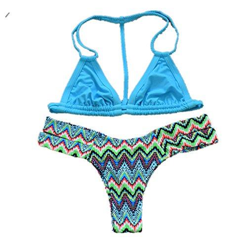SHISHNAG Trajes de baño de las señoras mujeres europeas y americanas bikini de dos - pieza de traje de baño de hidromasaje al aire libre rápida - el secado de alta - elástica azul del verano color