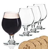 Libbey Beer Glass Belgian Style Stemmed Tulip – 16 oz Lambic Beer Glasses – set of 4 w/coasters