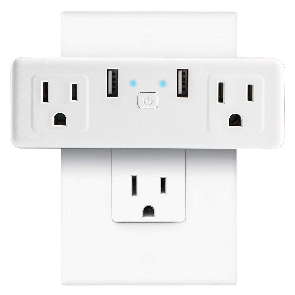 Smart WIFI Plug Outlet, Leyeet 2 in 1 Space-Saving 15A Wi-Fi Mini Smart Socket Switch Voice and App Controlled, 2 USB port Compatible with Alexa, Google Assistant and IFTTT No Hub Required