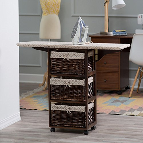 Dark Brown Espresso Mobile Ironing Board Station Cart With Storage Baskets by Home Improvements