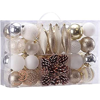 Sea Team 73 Pieces of Assorted Shatterproof Christmas Ball Ornaments Set Seasonal Decorative Hanging Ornament Set with Reusable Hand-held Gift Package for Holiday Xmas Tree Decorations, Gold & White