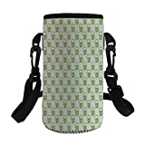 Small Water Bottle Sleeve Neoprene Bottle Cover,Green,Holiday Theme with Foamy Beer Glasses Celebration Fun Doodle Pattern Design,Apple Green White,Great for Stainless Steel and Plastic/Glass Bottles,