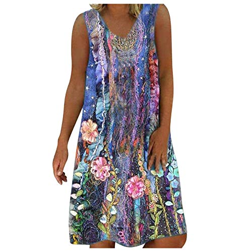 Mortilo Women's Summer Dresses, Women's Summer Light and Breathable Sexy Fashion Casual Printed Loose Big Swing Vest Dress(Purple,42_M