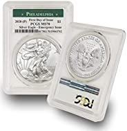 2020 Philadelphia Mint (P) Silver American Eagle MS-70 (First Day of Issue - Emergency Production) Green Label
