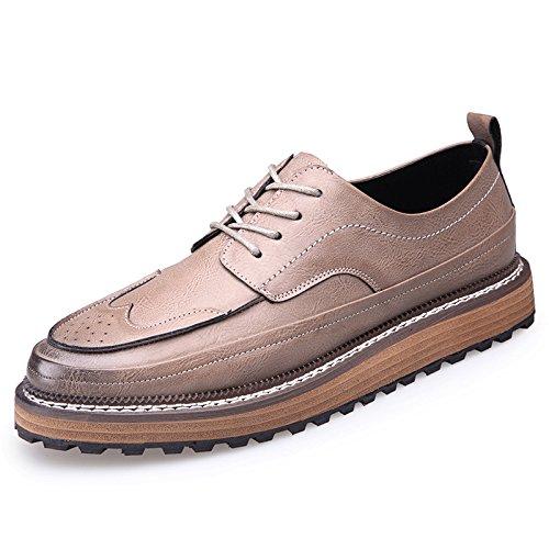 WZG Inglaterra tallada zapatos casuales complejos de los hombres Gubuluoke los calzados informales de los hombres para ayudar a los zapatos bajos Grey