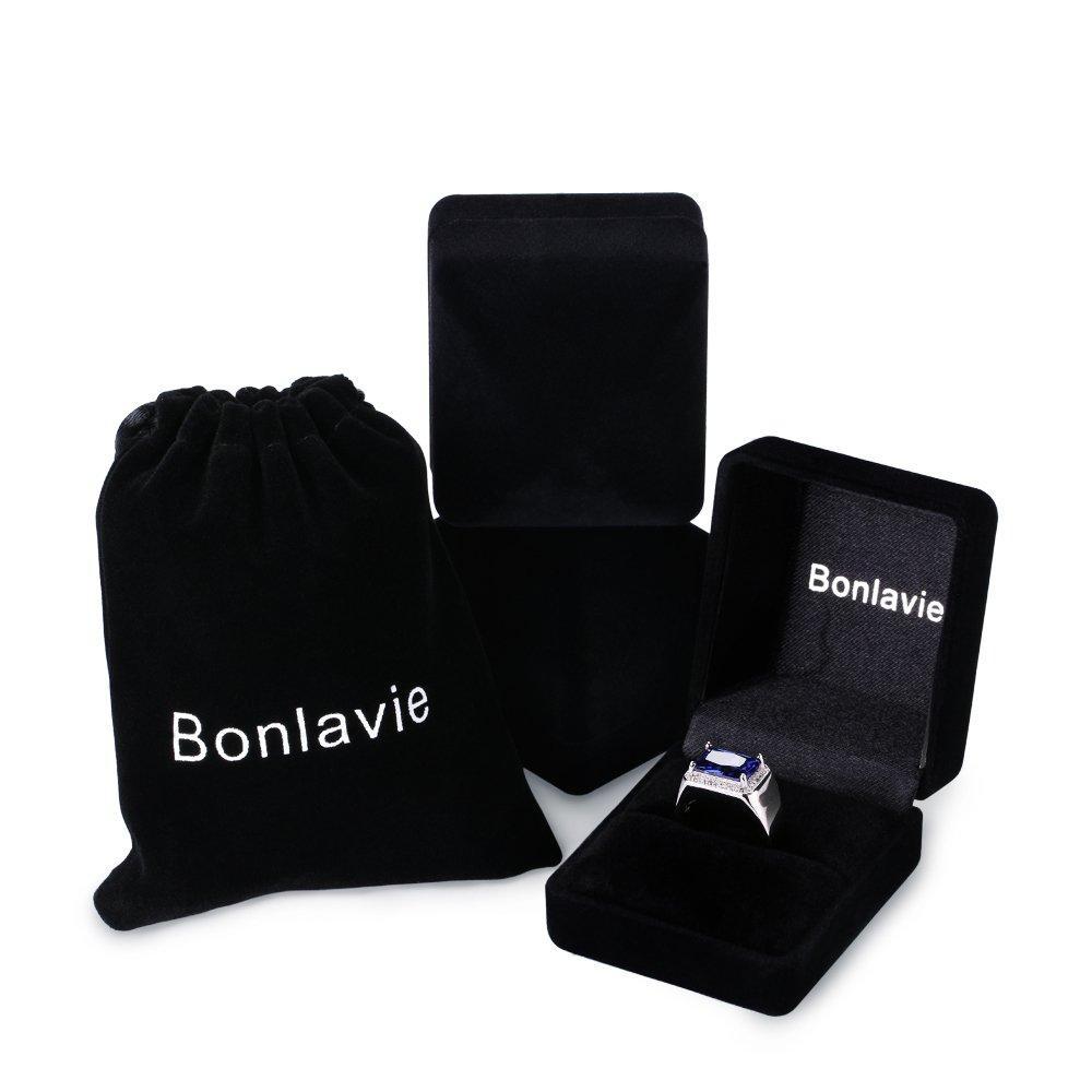 BONLAVIE 7.0ct Square Created Blue Sapphire 925 Sterling Silver Men's Ring Size 6 by BONLAVIE (Image #8)