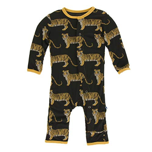 Kickee Pants Little Boys Print Coverall with Snaps - Zebra Tiger, ()