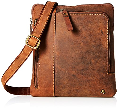 Visconti Leather Messenger Crossbody Bag Handbag For Ipad Or Tablet, Oil Tan, One Size by Visconti