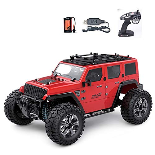 ElevenY 22KM / H 2.4G High-Speed Off-Road Remote Control Car Rear Straight Off-Road Vehicle Model Car Rubber Tire 1/14 Large Off-Road Hummer Model Car (Color : Red) ()