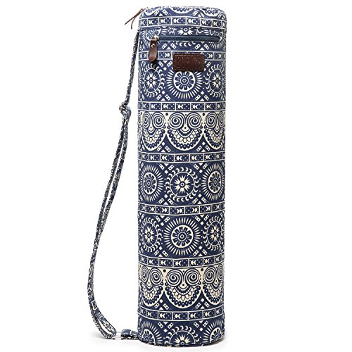 Boence Yoga Mat Bag, Full Zip Exercise Yoga Mat Sling Bag with Sturdy Canvas, Smooth Zippers, Adjustable Strap, Large Functional Storage Pockets – Fits Most Size Mats (Sheep)