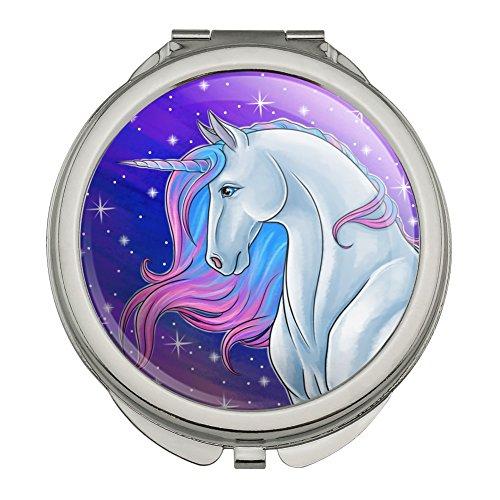 Majestic Unicorn Pink Purple Blue Compact Travel Purse Handbag Makeup Mirror