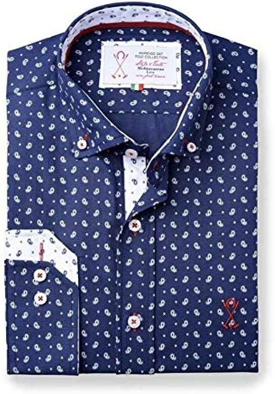Camisa Manga Larga Semi-Entallada, de Color Azul Marino con ...