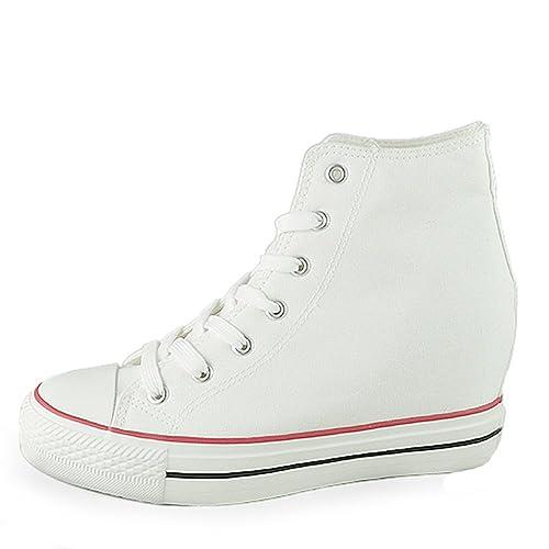 - Senza marca/Generico - Scarpe da Donna Sneakers Tela Tessuto Zeppa Interna Platform Rialzo Fiori Floreale B170 Nero 40 eAlEOG