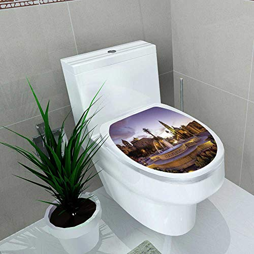 (Auraise-home Bathroom Toilet seat Sticker Decal san Diego Balboa Park at Twilight in san Diego California USA Decal Sticker Vinyl W15 x)
