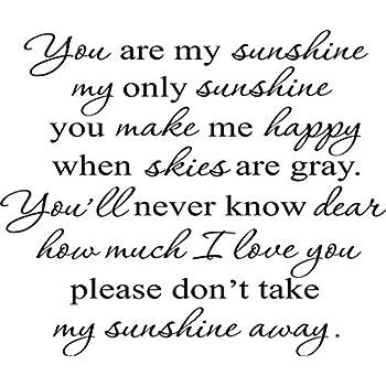 Amazoncom You Are My Sunshine My Only Sunshine Nursery Wall - Wall decals you are my sunshine