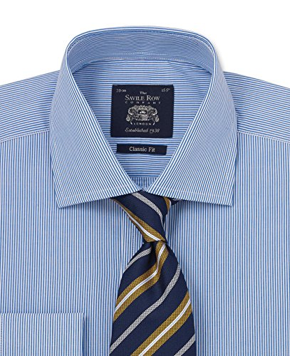 - Savile Row Men's Navy Bengal Stripe Classic Fit Shirt - French Cuff 20