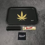 "Full Size Rolling Tray Bundle – 12"" x 8"" Tray + 110mm Rolling Machine + King Size Raw Rolling Papers – Lionhead"