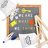 Changeable Letter Board, Gray Felt 10 x 10 Inches Bulletin Letterboard - 510 White & Gold Letters, Numbers, Symbols, 15 Stickers, Emojis, Wood Stand, Scissors and 2 Bags with Wall-Mount