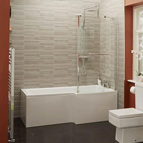 Forma de L para bañera y ducha bañera 1700 esquina acrílico blanco diseño para diestros o cama de matrimonio de pantalla fija de baño diseño de 6 mm de cristal (inc sin