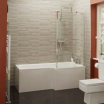 Forma de L para bañera y ducha bañera 1700 esquina acrílico blanco diseño para diestros o