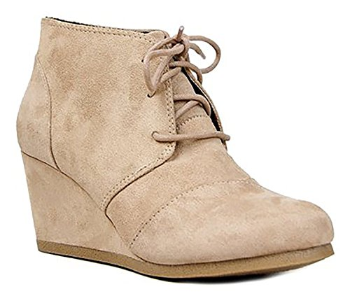 Soda Women's Rex-S Almond Toe Lace-Up Hidden Wedge Ankle Bootie (Taupe, 10 M US)