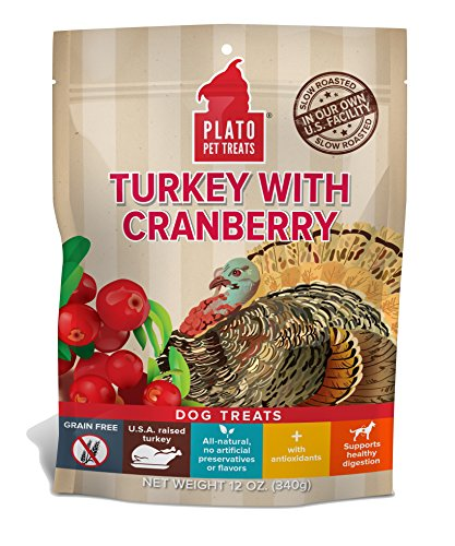 PLATO, Pet Treats, Real Strips Soft Dog Treats, Air-Dried in USA, Turkey & Cranberry, 12 oz Bag