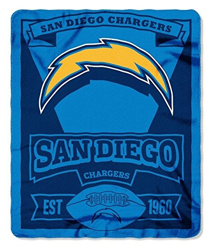 NFL San Diego Chargers Marque Printed Fleece Throw, 50-inch by 60-inch