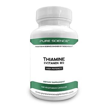 Pure Science Vitamina B1 Tiamina 100mg - Suplemento de tiamina para aliviar los síntomas de la