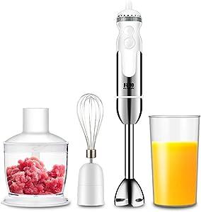 LEILEI 4-4 in 1 Stabmixerset,Kitchen Hand Mixer Stainless Steel Hand Mixer,Blender 800W Blender Blender Chopper Food Processor,Hand Blender,600ml Container,Mug,White