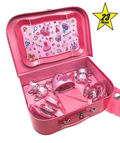 (Oojami 23 Piece Childrens Pretend Tin Tea Set Including a Carrying case Princess Theme)