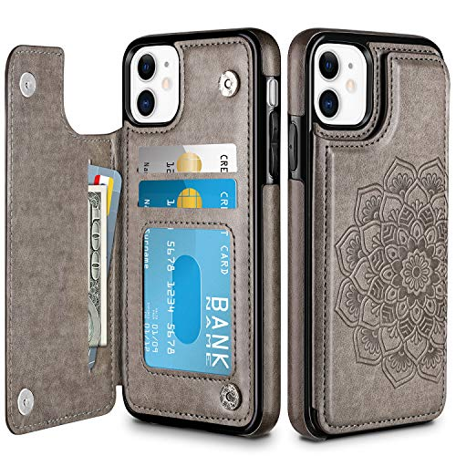 HianDier Wallet Case for iPhone 11 6.1-inch Slim Protective Case with Credit Card Slot Holder Flip Folio Soft PU Leather Magnetic Closure Cover for 2019 iPhone 11 iPhone XI, Mandala Gray