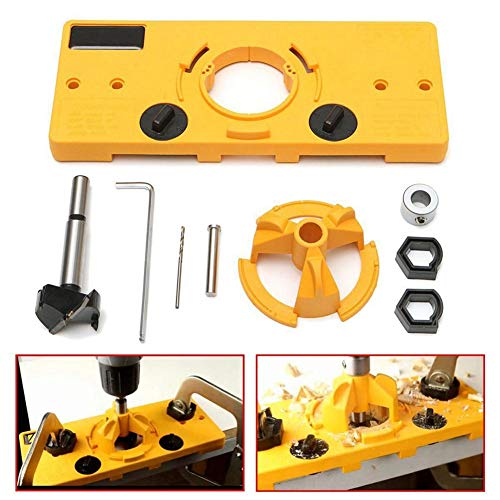 - Pawaca Hinge Jig Drill, 35mm Concealed Hinge Jig Boring Hole Drill Guide Cutter Bit Set Door Boring Hole Template and Bit for Cabinet Door Installation for Kreg Tool Carpenter Woodworking DIY Tools