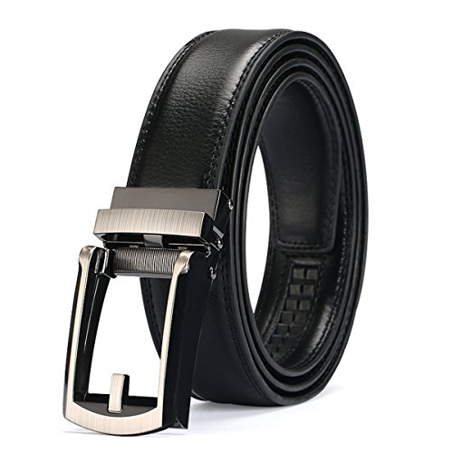 Leather Belt for Men, Charminer Ratchet Leather Belts Automatic Buckle Fits Waist Size 28'' to 40'' - Size 40 Belt For Men