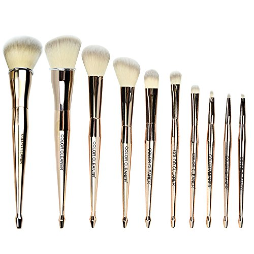Mermaid Makeup Brush Set, COLOR CLEANER Premium Beauty Cosmetic Tools 10 Pcs Professional Eye Shadow Eyeliner Foundation Blush Lip Brushes Powder Concealer Brushes (Gold)